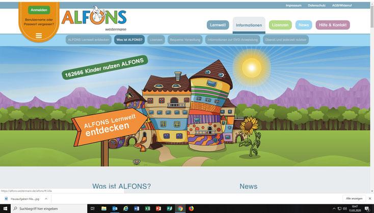 Zur Lernplattform Alfons (Deutsch und Mathematik für alle Klassen)