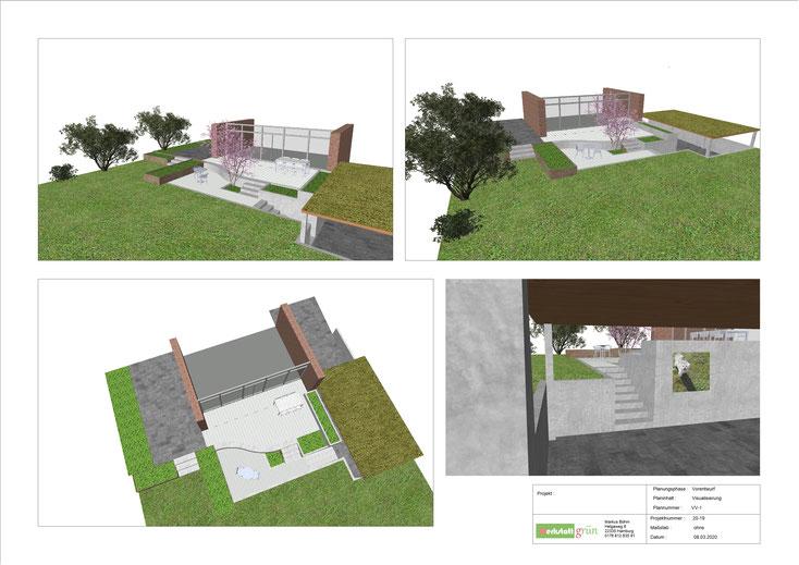 Carport begrünt, Gartenplanung Rosengarten, Buchholz