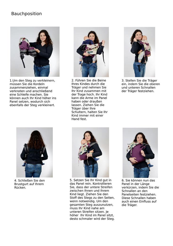 Anleitung Onbuhimo Babytrage, vor dem Bauch tragen