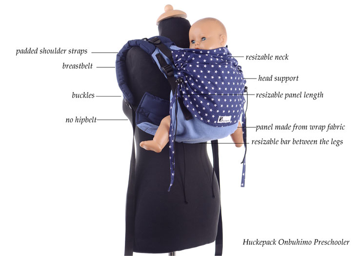 Onbuhimo babycarrier, made by Huckepack, adjustable wrap panel, well padded shoulder straps, no hipbelt, can be used in the pregnancy