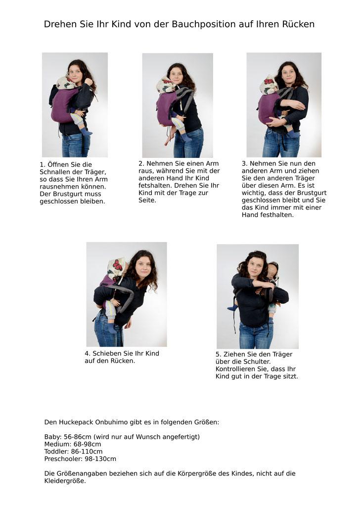 Anleitung, Kind im Onbuhimo auf dem Rücken tragen