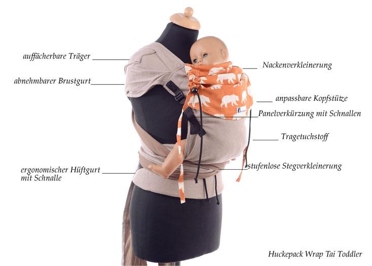 Wrap Tai, Babytrage komplett aus Tragetuchstoff, stufenlos mitwachsendes Panel, auffächerbare Träger, stabiler Hüftgurt mit Schnalle.