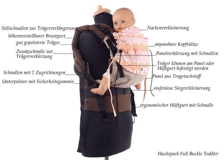 Huckepack Full Buckle Toddler, Babytrage ab Gr.86, stufenlos verkleinerbares Panel, gefertigt aus Tragetuchstoff, gut gepolsterte Träger und Hüftgurt mit Schnallen.