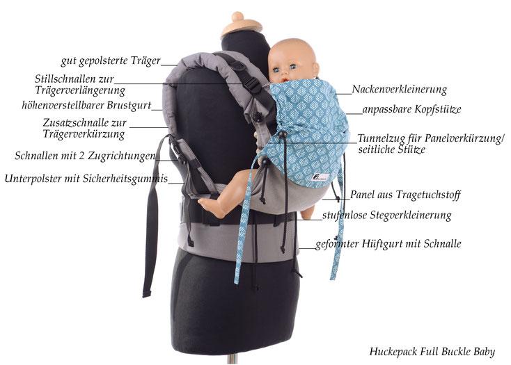 Huckepack Full Buckle Babytrage, mitwachsend, verstellbares Panel aus Tragetuchstoff.