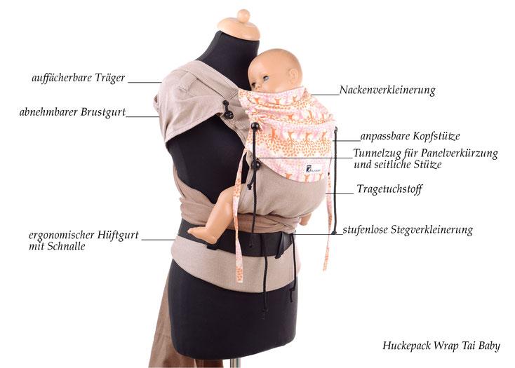 Huckepack Wrap Tai, Babytrage mit auffächerbaren Trägern und Hüftgurt mit Schnalle, komplett aus Tragetuchstoff, ab Geburt