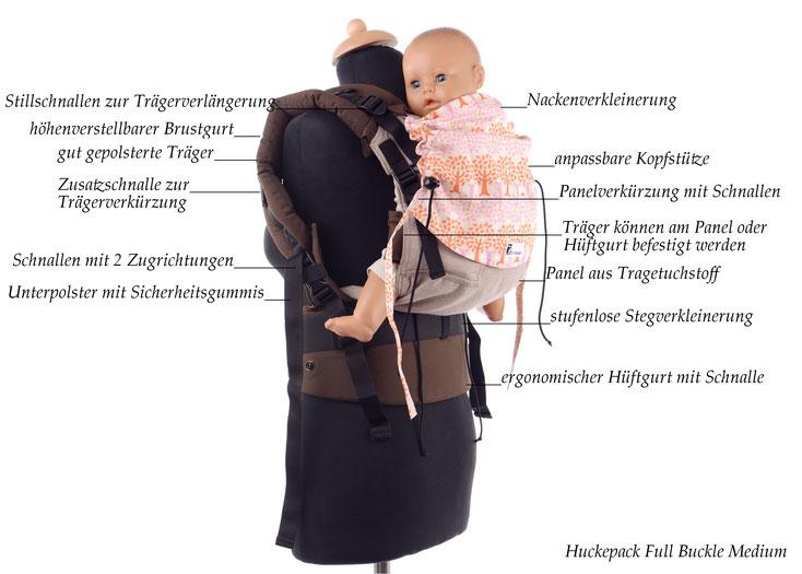 Huckepack Full Buckle, mitwachsende Babytrage aus Tragetuchstoff, Stegverkleinerung,Panelverkürzung, Schnallen am Hüftgurt und Panel, gut gepolsterte Träger und Hüftgurt mit Schnallen.