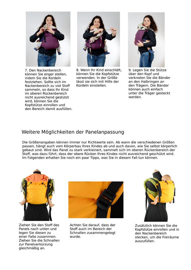 Onbuhimo Anleitung, Anpassen des Rückenpanels