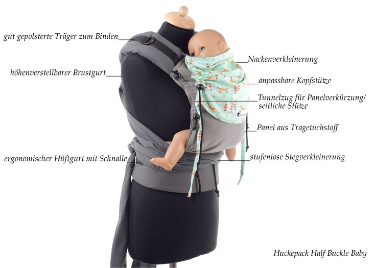 Babytrage, Huckepack Half Buckle, mitwachsende Tragehilfe ab Geburt, verstellbares Panel aus Tragetuchstoff