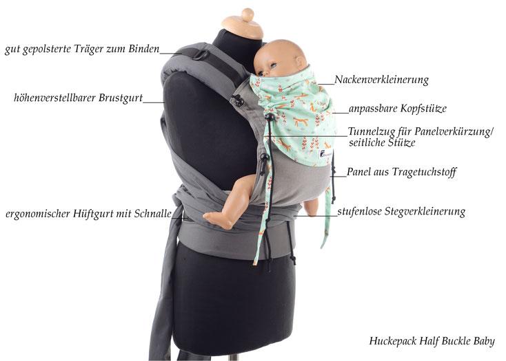 Babytrage ab Geburt, Huckepack Half Buckle Baby, individuell anpassbares Panel aus Tragetuchstoff, Träger zum Binden, Hüftgurt mit Schnalle.