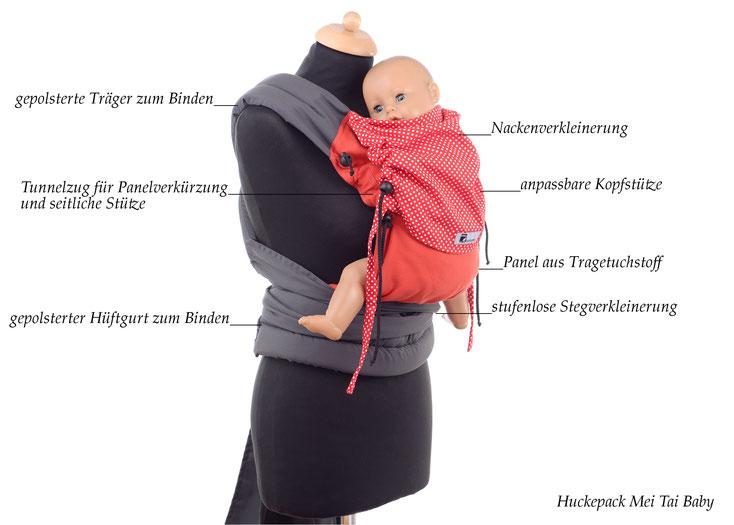 Huckepack Mei Tai Babytrage ab Geburt, Tragehilfe für Neugeborene, mitwachsendes Rückenpanel aus Tragetuchstoff.