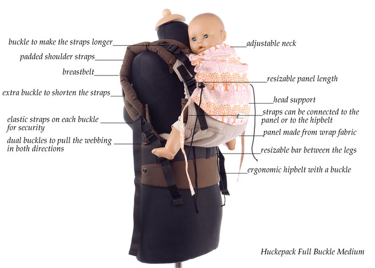 Huckepack Full Buckle, soft structured babycarrier, very adjsutable wrap panel, well padded straps, ergonomic hipbelt