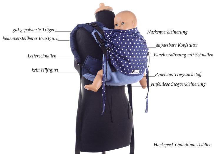 Huckepack Onbuhimo Toddler, stufenlos anpassbare Tragehilfe ab Sitzalter, gefertigt aus Targetuchstoff, gut gepolsterte Träger