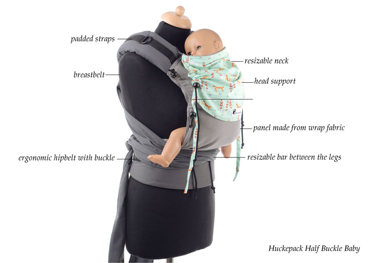 Huckepack Half Buckle babycarrier, resizable panel, padded shoulder straps, ergonomic hipbelt, many designs available.