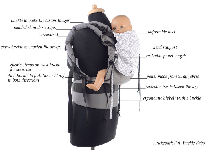 Huckepack Full Buckle baby size, soft structured babycarrier, adjustable panel, padded shoulder starps, ergonomic hipbelt