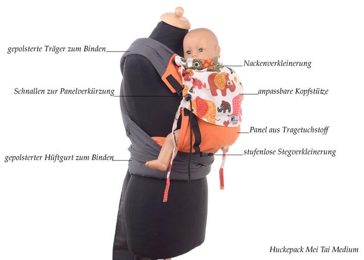 Mei Tai Babytrage von Huckepack, Tragehilfe mit stufenlos mitwachsendem Rückenpanel aus Targetuchstoff, Träger und Hüftgurt zum Binden.