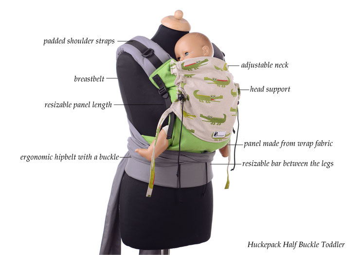 Huckepack Half Buckle babycarrier, adjustable panel made from wrap fabric, padded straps, hipbelt, many designs available