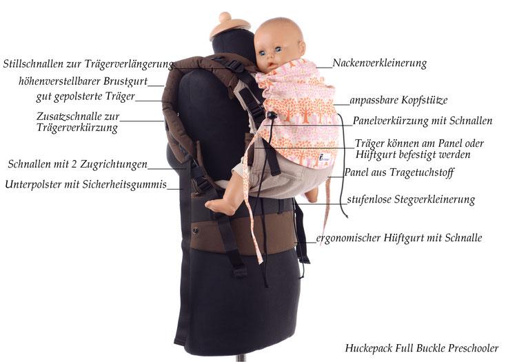 Komfort Babytrage, Huckepack Full Buckle Preschooler, Tragehilfe ab Gr.98, Tragetuchstoff, gute Polsterung der Träger und Hüftgurt, stufenlos mitwachsend