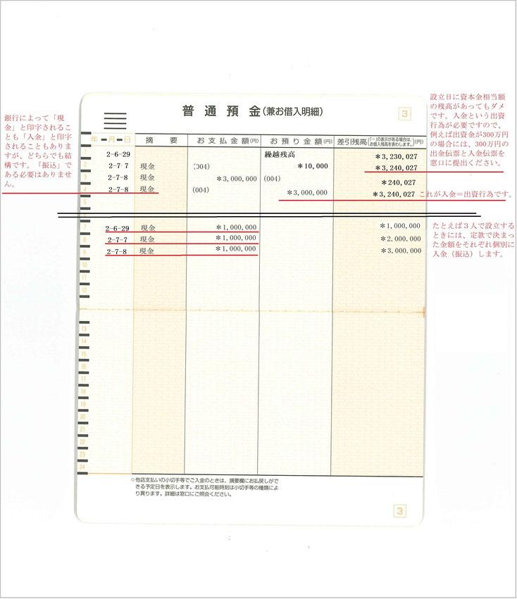 会社設立の通帳コピー(入金されたページ)