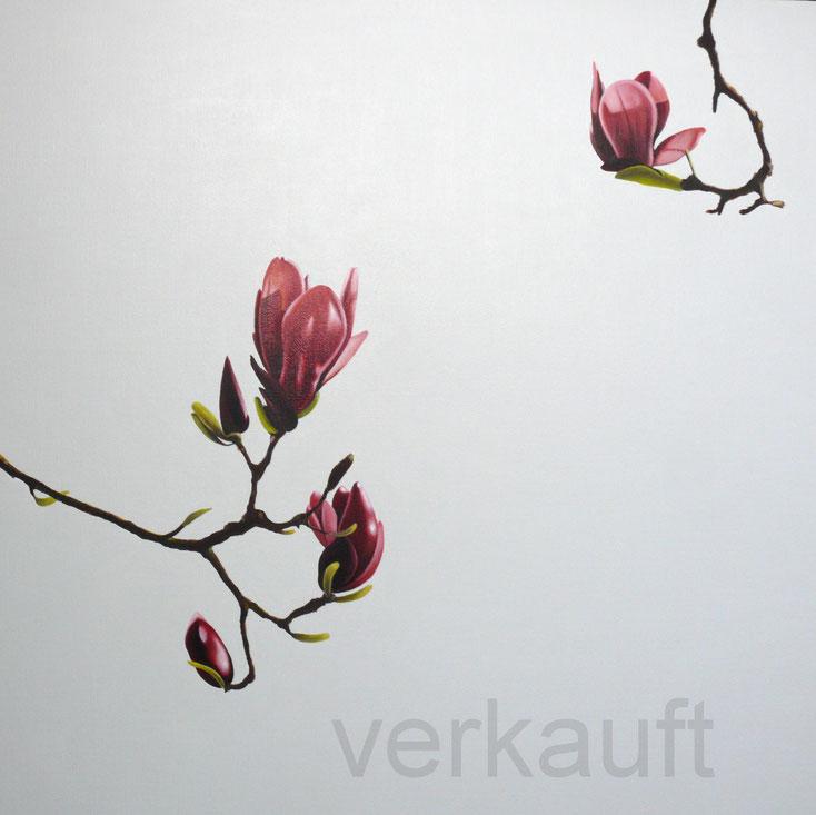 Ölbild mit Magnolienblüten