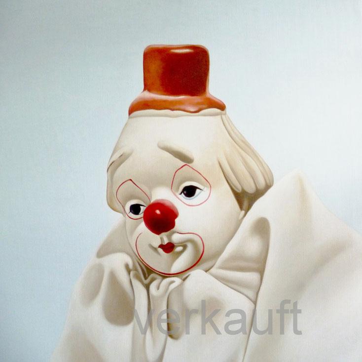 Ölbild mit weißem Clown