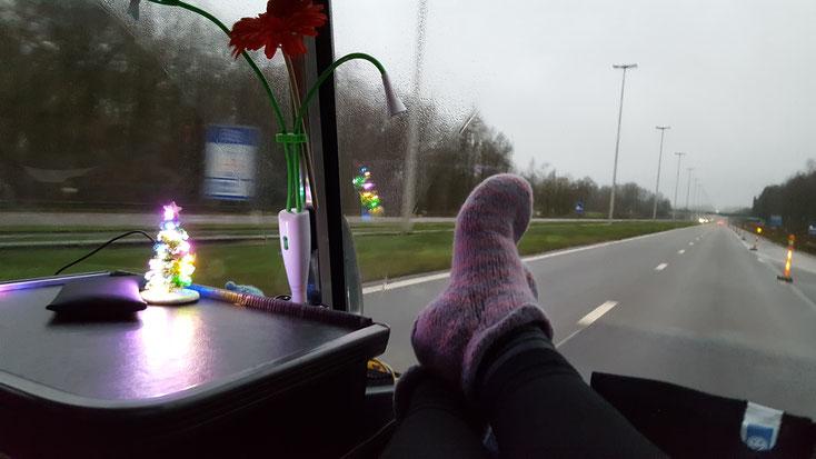 Stillleben mit Filzpuschen (danke Birgitt ;o)) und Tannenbäumchen