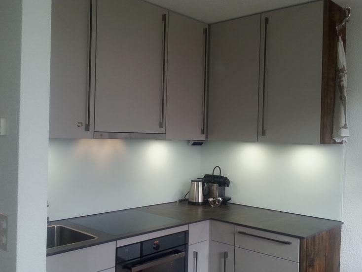 Die neue Küche, veredelt mit Altholz von Schreiner Paul, lädt zum Backen und zum Zuschauen beim Abwaschen (Geschirrspüler :-))