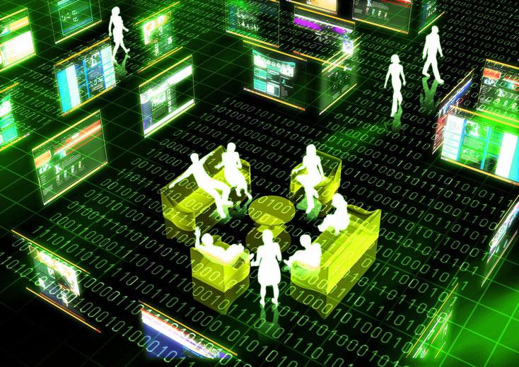 Infrarot-Darstellung einer lockeren Diskussionsrunde in einem Firmengebäude; IT-Sicherheit Kurtz Detektei Hamburg