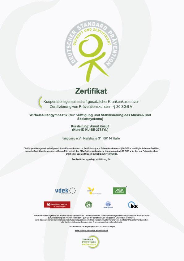 """Zertifikat """"Flexi Spine"""" Wirbelsäulengymnastik für Yoga Mio Halle"""