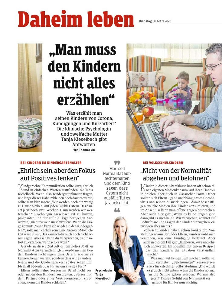 Gespräch Tanja Kieselbach mit der Kleinen Zeitung während der Coronakrise