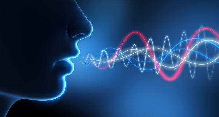 Grafische Darstellung von Schallwellen, die beim Sprechen den Mund verlassen; Abhörspezialisten in Düsseldorf, Detektei Kurtz