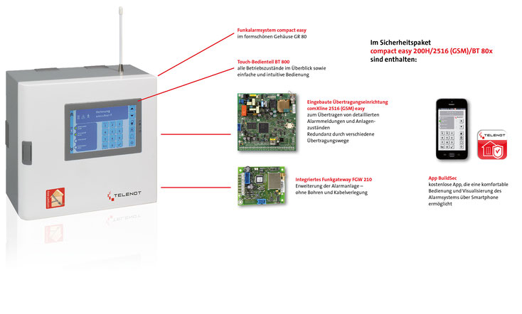 Telenot compact easy mit Touch-Bedienteil BT 800, presented by SafeTech