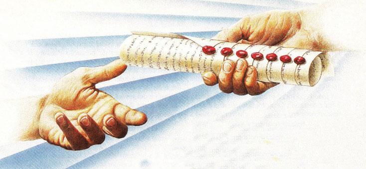 Jésus-Christ prend le livre scellé de 7 sceaux de la main droite de Dieu qui est assis sur son trône.