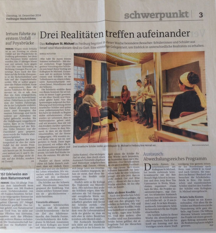 Drei Realitäten treffen aufeinander - Zeitungsartikel Freiburger Nachrichten vom 16.12.2014