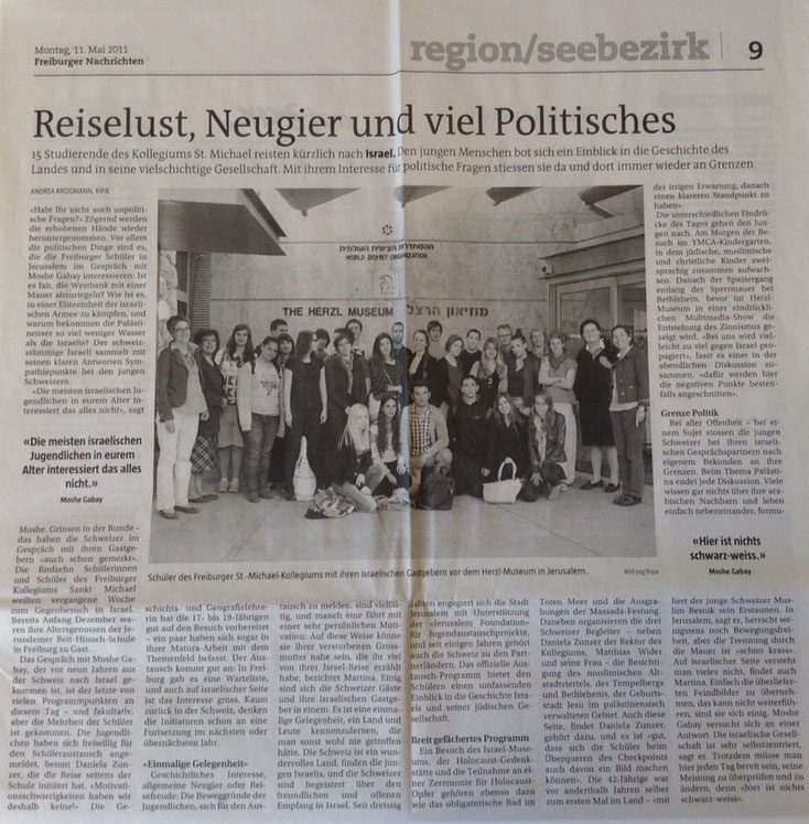Reiselust, Neugier und viel Politisches - Freiburger Nachrichten vom 11.05.2011