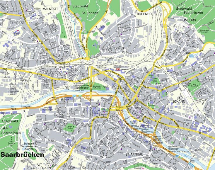 Straßenkarte Saarbrücken; Detektive Saarland, Privatdetektiv Saarbrücken, Wirtschaftsdetektei