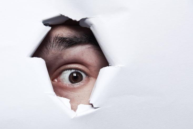 Mann spioniert durch Loch in der Wand; Zweittätigkeit, Spionage, Wirtschaftsdetektei Saarbrücken