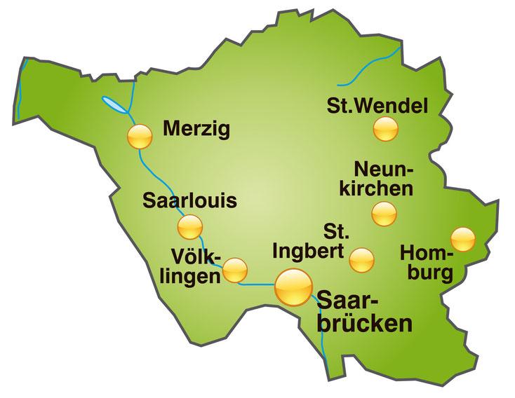 Landkarte Saarland; Detektei Homburg*, Detektiv Neunkirchen*, Privatdetektiv Sankt Wendel*