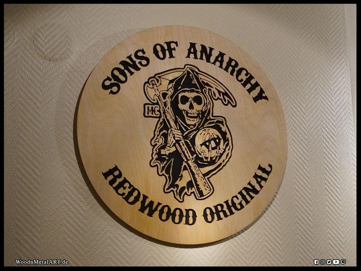 WoodnMetalART Scrollsaw Dekupiersäge Holzlogo Sons of Anarchy Reaper