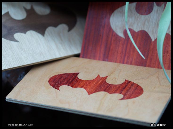 WoodnMetalART Scrollsaw Holzbild Batman Furnier