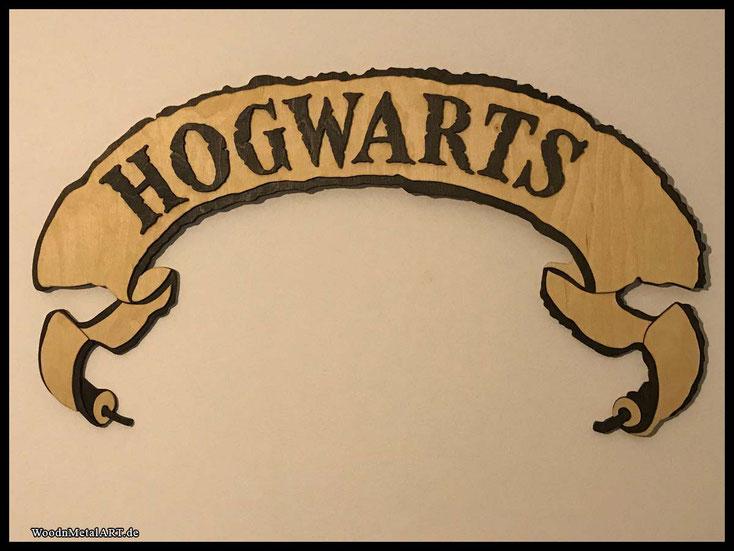 WoodnMetalART Scrollsaw Dekupiersäge Holzlbanner Hogwarts