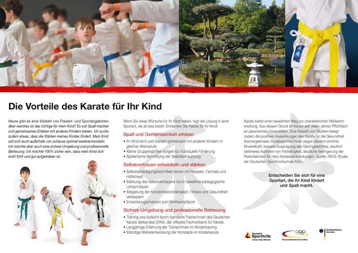 Informationsflyer über die Vorteile des Karate für Kinder