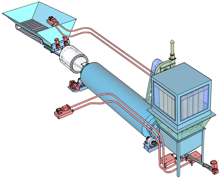 Fig. 3: Drum dryer TT 50/100 (sectional side view)