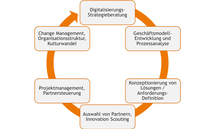 Digitalisierungsberatung, Geschäftsmodellentwicklung, Prozessananlyse, Konzeptionierung, Anforderungsdefinition, Innovation Scouting, Projektmanagement, Partnersteuerung, Change Management
