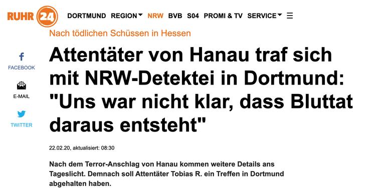 Hanau-Terroranschlag; Detektei Dortmund, Detektiv Dortmund, Privatdetektiv Unna, Detektei Unna
