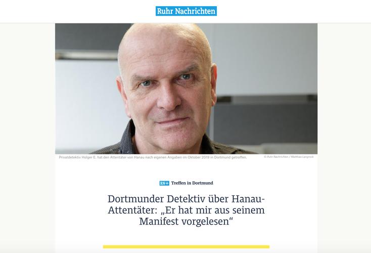 Hanau-Attentat; Dortmunder Detektiv, Kurtz Detektei Dortmund, Privatdetektiv Dortmund