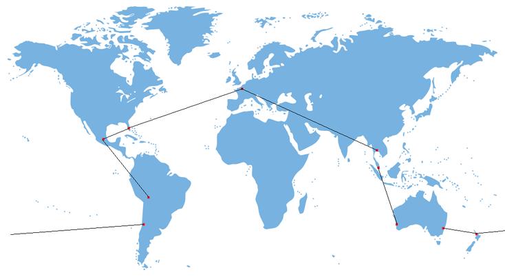 TDM320 L'itinéraire du tour du monde de la famille