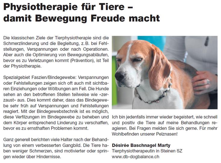 Mein Artikel im Schwyzer Anzeiger zur Tierphysiotherapie
