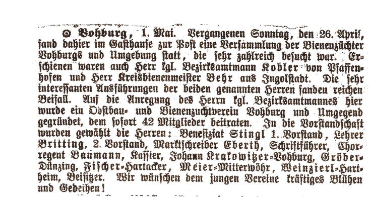 In einem Zeitungsartikel vom 01.Mai 1903 wird über die Vereinsgründung in Vohburg berichtet