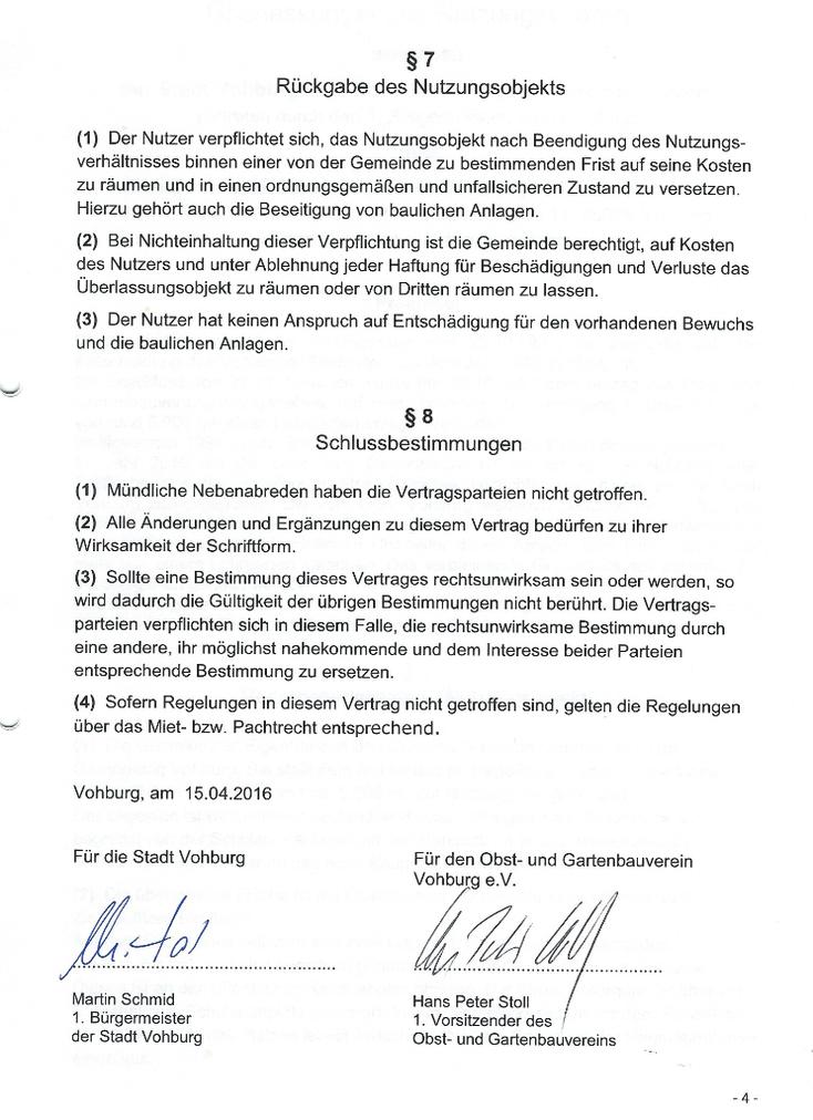 Hier die Unterschriften Martin Schmid (1.Bürgermeister der Stadt Vohburg) und Hans Peter Stoll (1. Vorsitzender des Obst- und Gartenbauvereins).