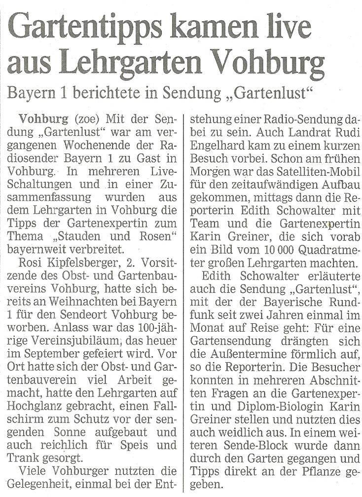 Zeitungsartikel über den Besuch von Bayer 1 in unserem Lehrgarten